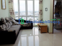 Apartment for rent in 11th floor Sunrise in Thu Dau Mot, comfortable furniture, 2 bedrooms, nice view